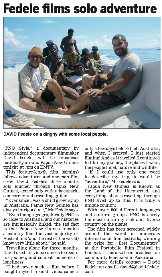 PNG Style newspaper article